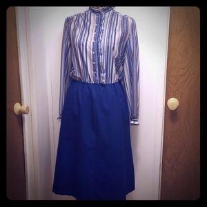 Vintage 1970s MOD Ruffle High Neck Blue Dress Fall